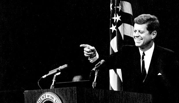 President John Kennedy, a photo taken several months after his speech in Hamtramck, MIchigan. Photographer not identified.