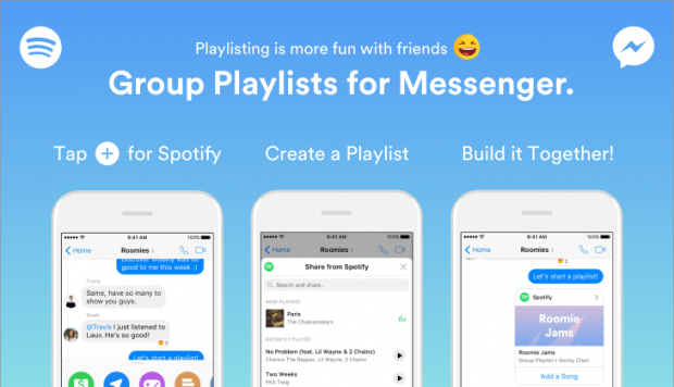 Playlist de Spotify en Facebook Messenger