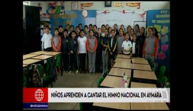 Escolares cantan Himno Nacional en aymara. (Video: América Noticias)