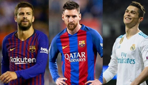 Gerard Piqué, Lionel Messi, Cristiano Ronaldo (Fotos: Getty Images)