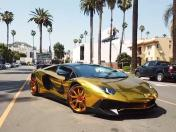 YouTube: Rapero Chris Brown se luce con un Lamborghini Aventador dorado | VIDEO