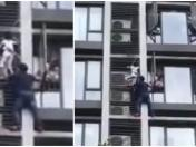 Padre trepó edificio para salvar a su hijo | VIDEO