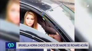 Surco: Brunella Horna sufrió accidente en auto de madre de Richard Acuña