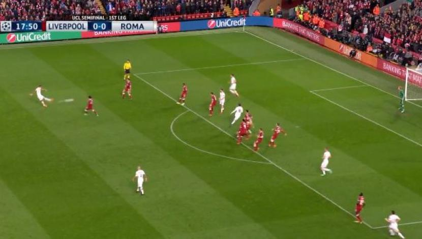 Liverpool vs. Roma: Kolarov y el remate al palo que asustó a Anfield Road | VIDEO