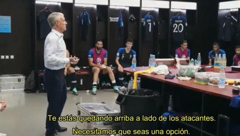 El épico discurso de Deschamps al medio tiempo de la final del Mundial ante Croacia. (Foto y video: YouTube)