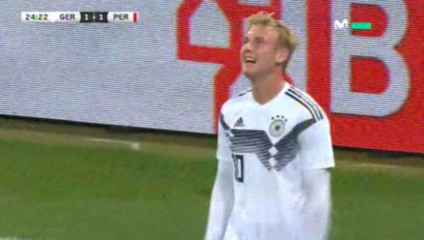 Perú vs. Alemania: Brandt anotó gol del 1-1 por amistoso. (Video: Movistar Deportes / Media Networks / Foto: Captura de pantalla)