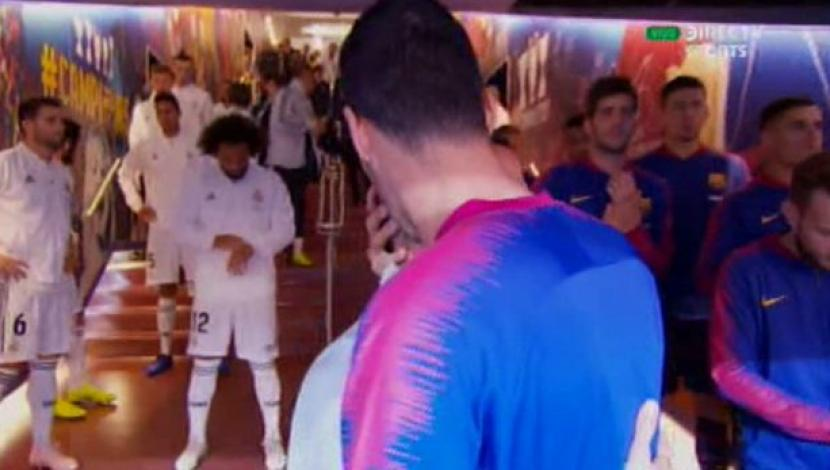 Barcelona vs. Real Madrid EN VIVO: así se saludaron antes de salir al campo de juego | VIDEO. (Video: DirecTV Sports / Foto: Captura de pantalla)
