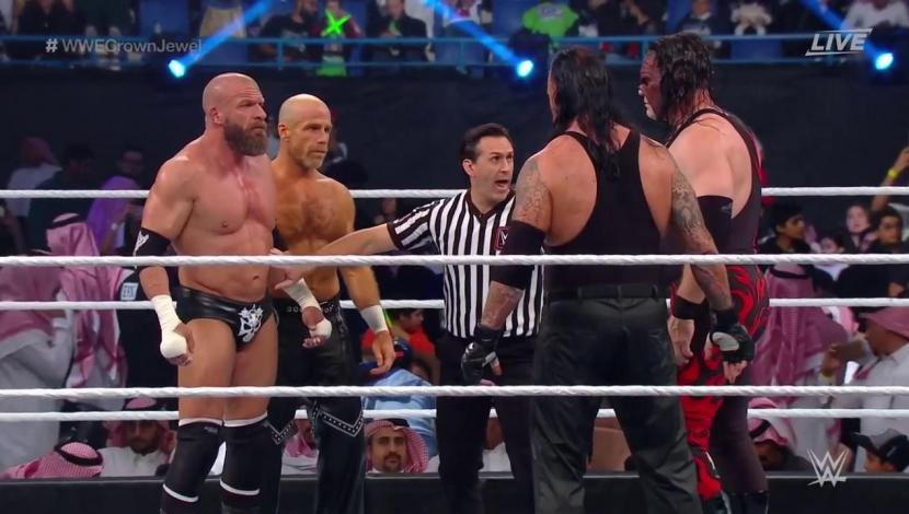 The Undertaker & Kane vs. Triple H & Shawn Michaels se enfrentaron en la pelea estelar de Crown Jewel