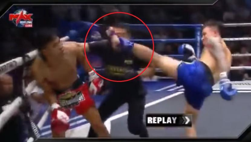 China: peleador de muay thai derriba árbitro