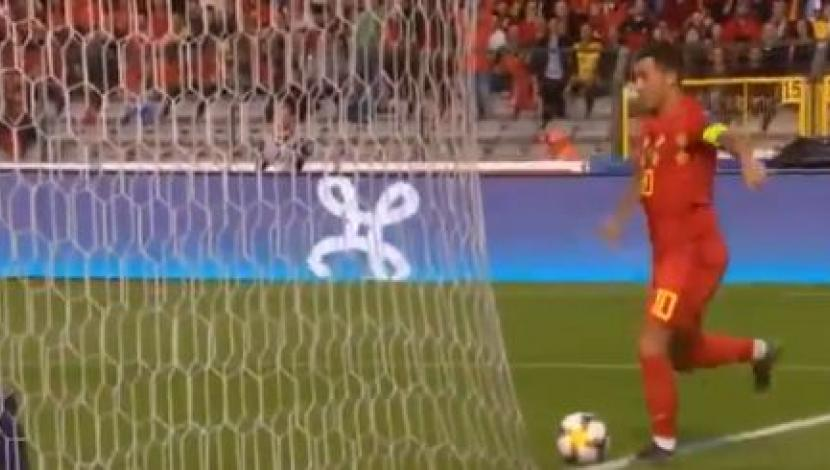 La asistencia de Eden Hazard en el Bélgica vs. Escocia. (Foto: captura de video)