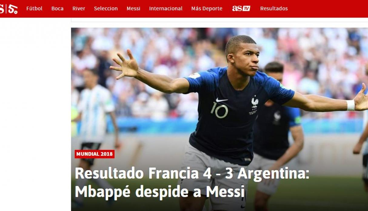 Argentina vs. Francia: portada del medio español 'AS'. (Foto: captura)