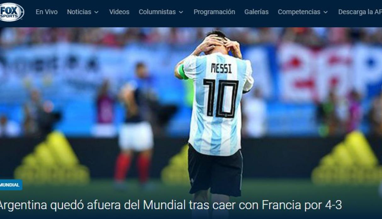 Argentina vs. Francia: portada del medio argentino 'FOX Sports'. (Foto: captura)