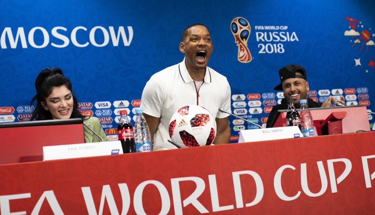Nicky Jam, Will Smith y Era Istrefi antes de la clausura de Rusia 2018