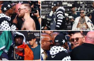 Mayweather vs. McGregor: 'Money' lanzó billetes a Conor en el tercer careo