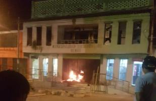 Municipio de Olmos fue incendiado durante protestas | VIDEO