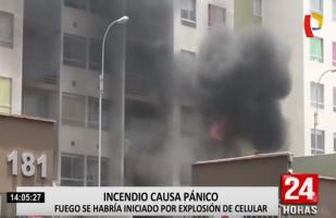 Bomberos atendieron incendio en edificio de San Miguel [VIDEO]