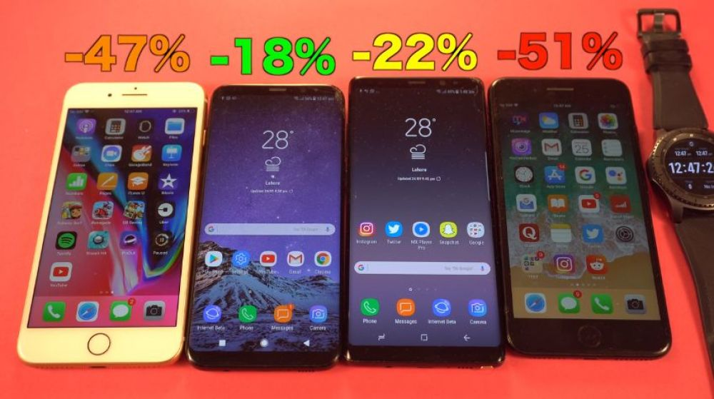 DURACION BATERIA IPHONE 7 VS SAMSUNG S8
