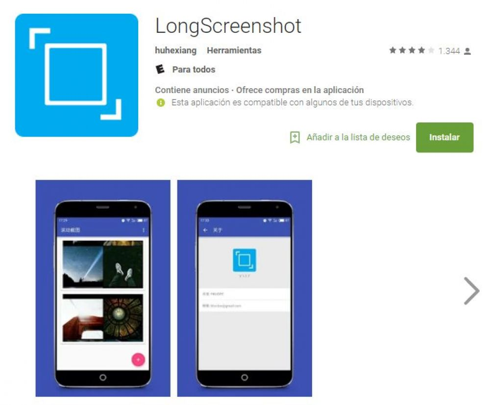 LongScreenShot disponible en el Play Store de Google. (Foto: Play Store)