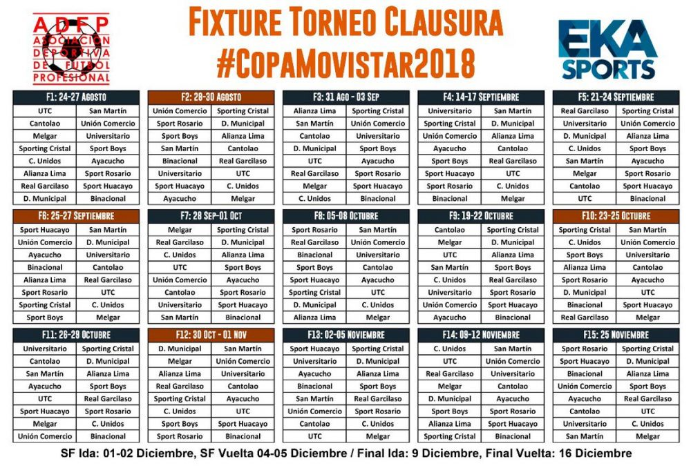 Calendario del Torneo Clausura. (Foto: EKA Sports)