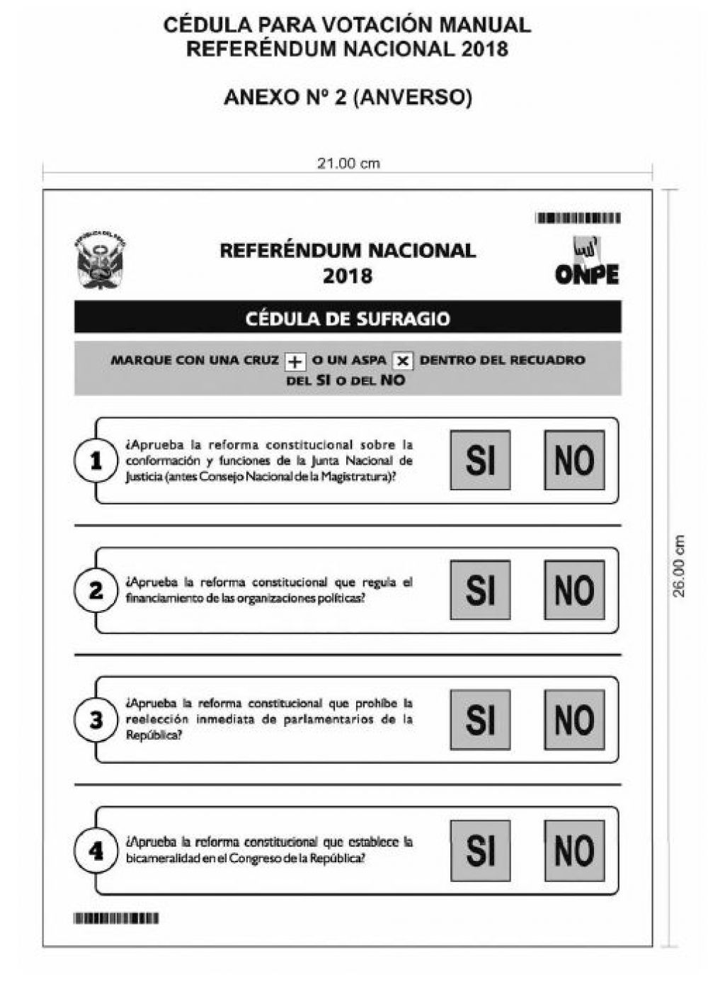 Cédula de Sufragio manual