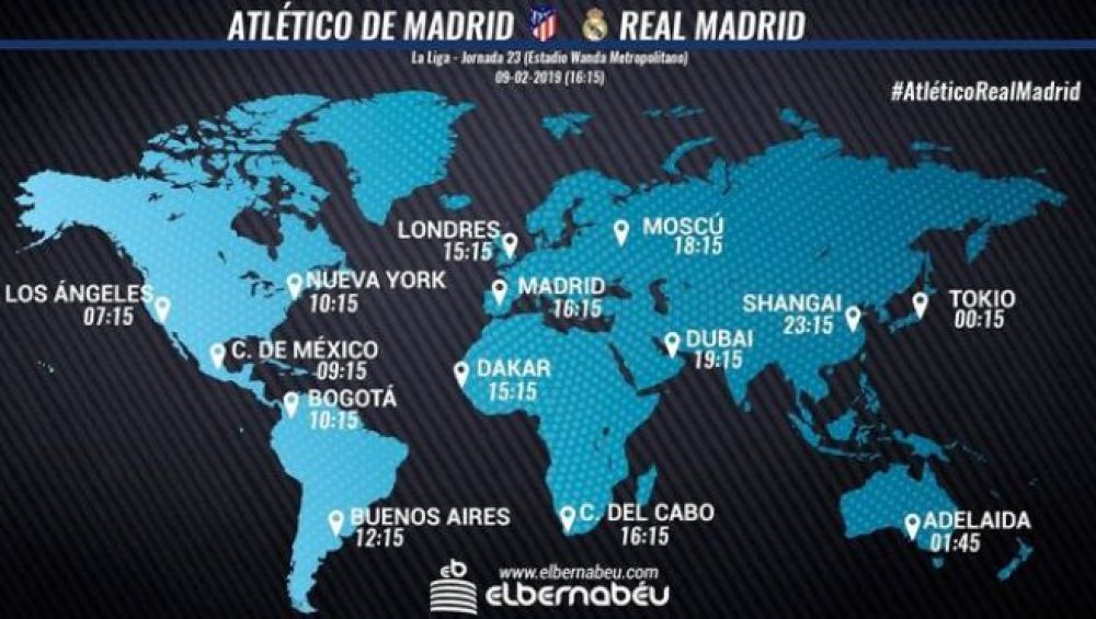 Real Madrid vs. Atlético de Madrid EN VIVO: horarios en el mundo. (Foto: Web Real Madrid)