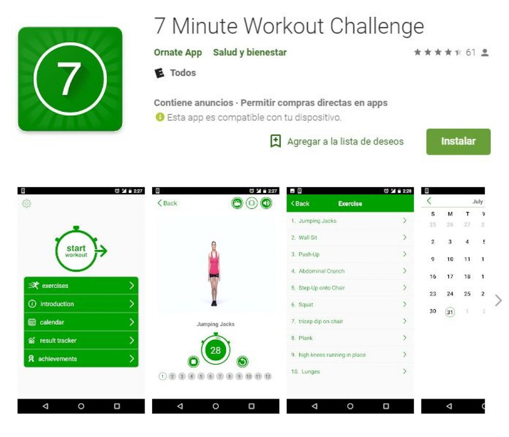 7 minutes workout challenge